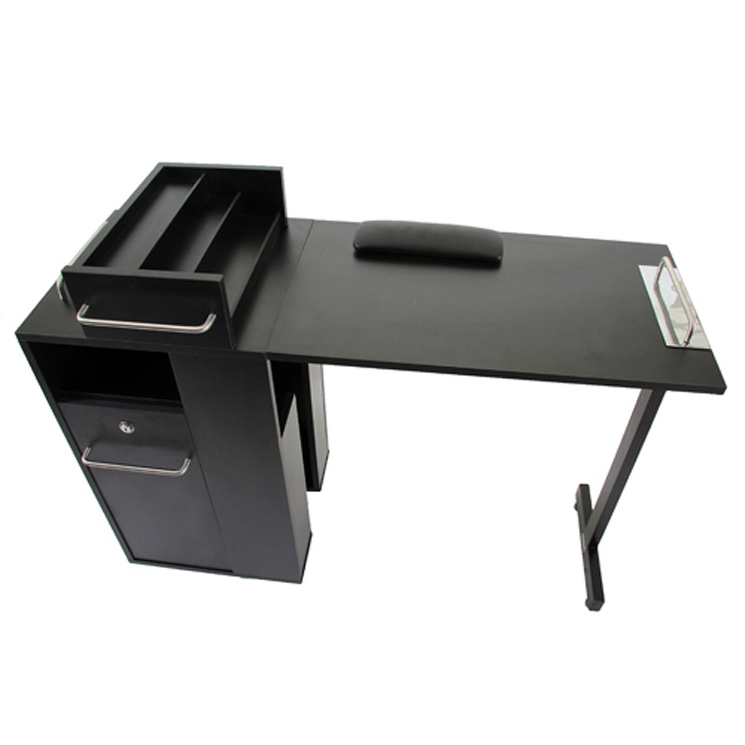 Keller portable black folding manicure table free shipping for Fold away nail table