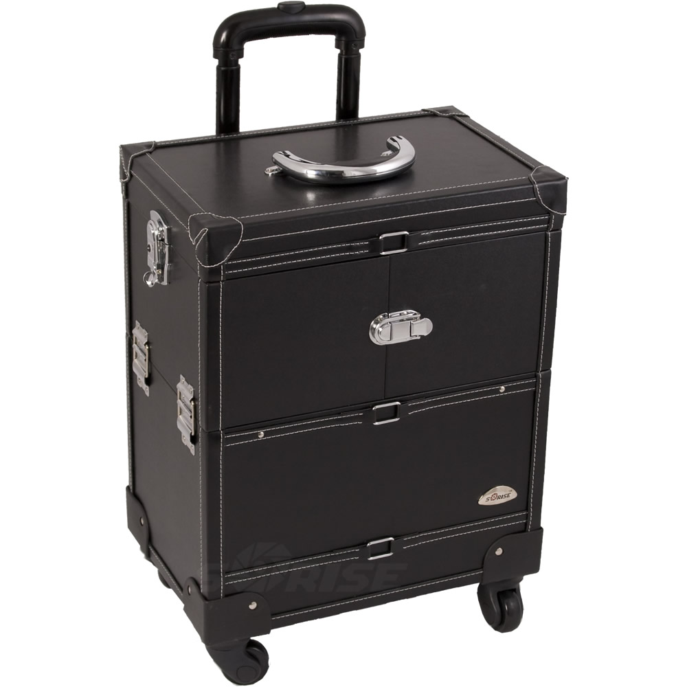 Justcase 21 Quot Black Leather Like Rolling Makeup Artist Case
