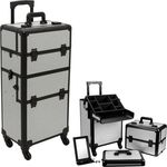 JustCase SILVER KRYSTAL 4-Wheel Professional Rolling Aluminum Cosmetic Makeup Case & Easy-Slide + Free Shipping