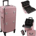 JustCase PINK 4-Wheel Professional Rolling Aluminum Cosmetic Makeup Case & Easy-Slide + Free Shipping
