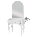 Josephine SAV-407 Savvy Kaemark Salon Shaker Styling Station w/Mirror In White