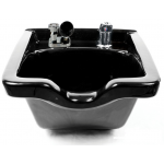 Kaemark KS-928 Porcelain Square Wall Mount Shampoo Bowl in Black