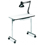 Salon Tuff ManiGo Portable Folding Manicure Table w/ Light in White
