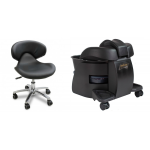 Continuum Standard Pedicute Package In Black w/ Tech Chair, Accessory Cart & 300 Liners