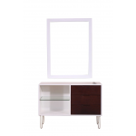 Mid-Century 468-SS-W-MCM Modern White & Rustic Wood Vanity Station