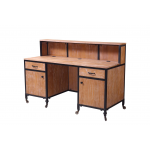Rustic Wood 470-RD-RW Kaemark Salon Spa Barber Reception Desk + Free Shipping