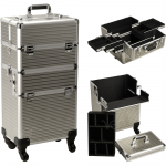 "JustCase 29"" Professional Portable Rolling Beauty Case In Champagne Stripe"
