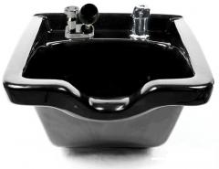 Kaemark KS-928 Porcelain Square Wall Mount Shampoo Bowl in Black + Free Shipping!