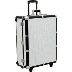 JustCase LED Lighted Rolling Case with Mirror - Krystal White
