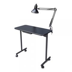 Salon Tuff ManiGo Portable Folding Manicure Table w/ Light in Black