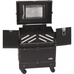 "JustCase 21"" Black Leather-Like Rolling Makeup Artist Case"