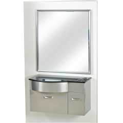 Pibbs PB52 Stainless Steel Styling Station w/ Mirror & Stone Top + Free Shipping!