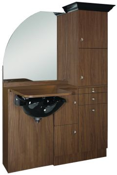 Ellipse EP-260-CR Kaemark Wet Salon Station w/Crown & Mirror In 17 Colors + Free Shipping!