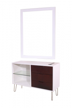 Mid-Century 468-SS-W-MCM Modern White & Rustic Wood Vanity Station