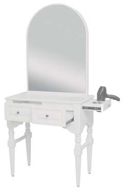 Josephine SAV-407 Savvy Kaemark Salon Shaker Styling Station w/Mirror In White + Free Shipping