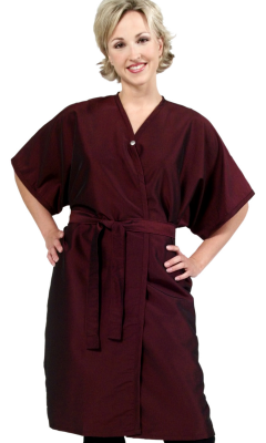 SALE - 8703 Silkarah Short Sleeve Salon Spa Client Gown in 11 Colors + Free Shipping!